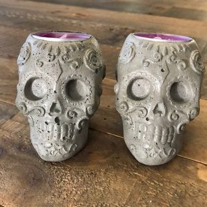 Sugar skull concrete candle votive set